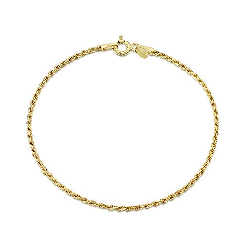 Amberta 18K Gold Plated on 925 Sterling Silver 1.5 mm French Rope Chain Bracelet Length 7.5