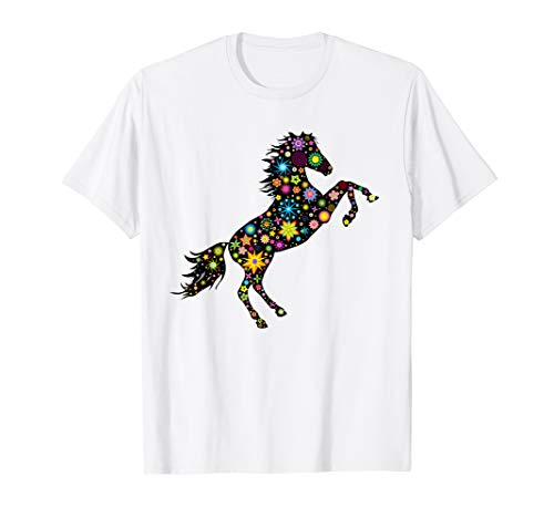 Horse Silhouette With Flowers and Stars T-Shirt (T Race Yellow)