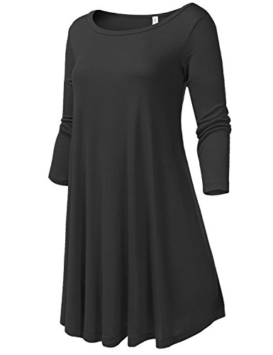 Round Neck Flowy Stretch Knit 3/4 Sleeve Short Dresses