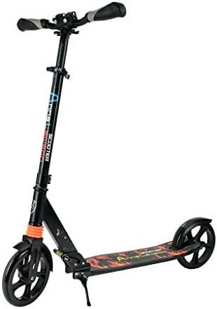 子供 少年 十代の若者たちスクーター 折りたたみブレーキ付 配置が簡単強化ハンドルロックナビゲートしやす高性能 集中力や平衡感覚育成 アルミ合金黒
