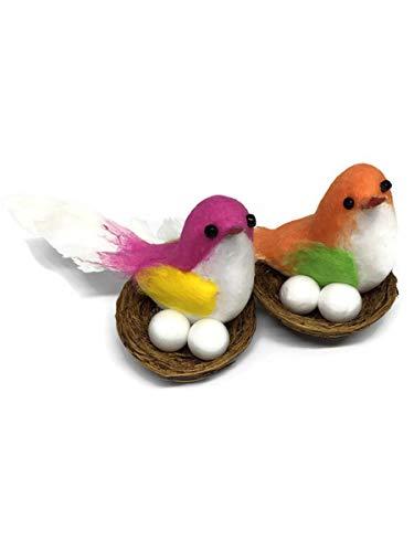 2 Mini Fake Bird Decorative Artificial Feather Foam Doves Wedding Venue Ornament Nature Home Decor B0002 from PKC_Bird