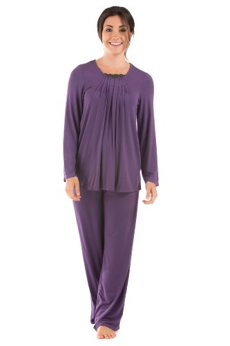 Texere Women's Long Sleeve Pajama Set (Tranquille, Amethyst, Medium) Cool Gifts for Valentine's Day WB0003-AMT-M