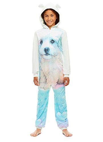 Girls Dog Print Pajamas | Plush Zippered Kids