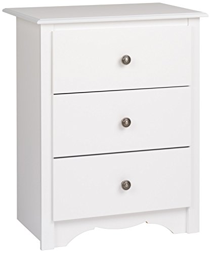 Prepac WDC-2403 Monterey Nightstand, Tall 3-Drawer, White ()