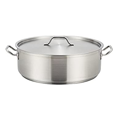 Winco SSLB-15, 15-Quart Stainless Steel Brazier Pan With Cover