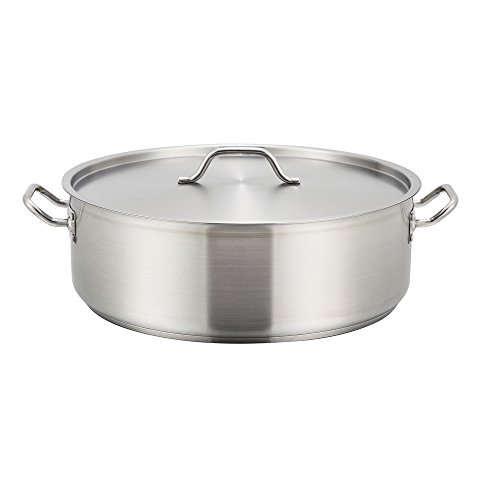 Winco SSLB-20, 20-Quart Stainless Steel Brazier Pan With Lid, Cooking Pan with Cover by Winco
