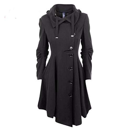 QZUnique Women's Long Personality Collar Outwear Slim Trench Coat Black US 8-10