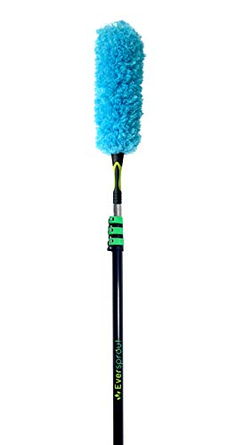 EVERSPROUT 7-to-26 Foot Flexible Microfiber Feather Duster and Extension Pole Combo (30+ Ft. Reach) | Heavy Duty, High-Grade Aluminum, 3-Stage Telescopic Pole | Extra-Long 24'' Feather Duster