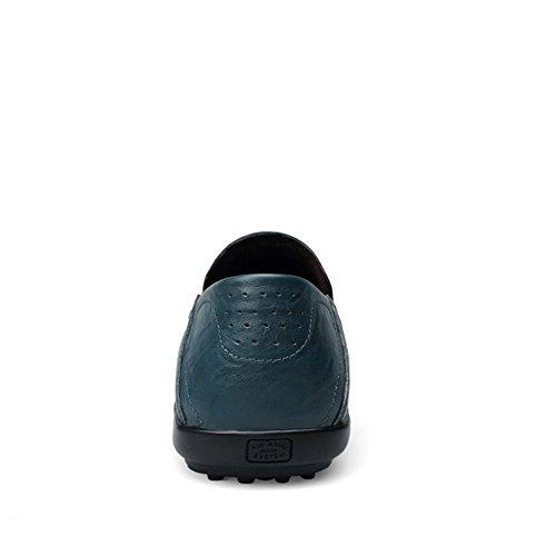 Mocassini da Pelle blu Uomo di Scarpe 1 Insun Casuale Sxz17vwv