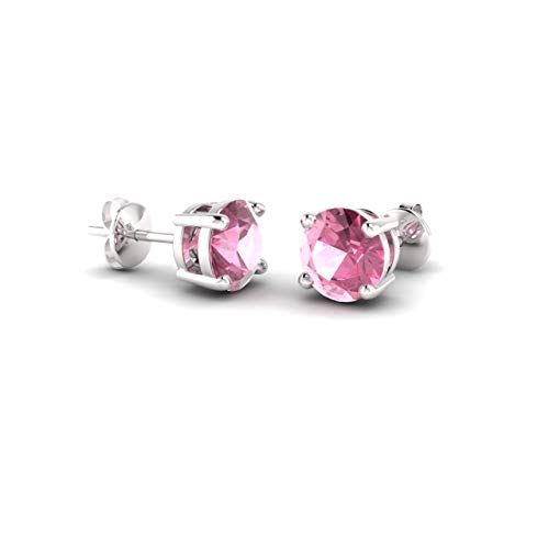 (Diamondere Natural and Certified Pink Tourmaline Solitaire Stud Earrings in 14K White Gold |0.96 Carat Earrings for Women)