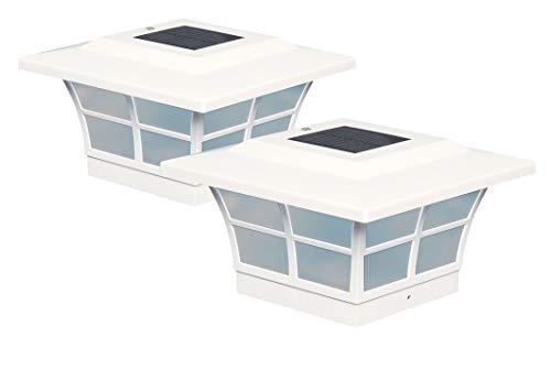 (Classy Caps SL085 5x5 Prestige Solar Post Cap - 2 Pack/White )