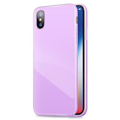 iPhone X Case, ANLEY Candy Fusion Series - [Shock Absorption] Classic Jelly Silicone Case Soft Cover for Apple iPhone X (Lavender Purple) + Free Ultra Clear Screen Protector