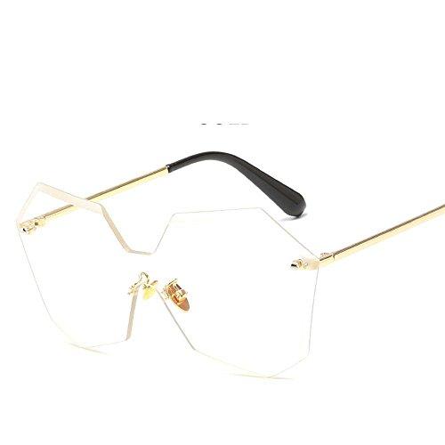 Aoligei L'Europe et aux États-Unis sans armature jointes lentilles lunettes de soleil fashion hommes et femmes le même t général lunettes de soleil Rend les lunettes de soleil E