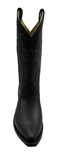 Grinders Womens Buffalo Black Cowboy Western Leather Boots Fashion Stylish Hand Crafted Shoes sT5Xryc5dm
