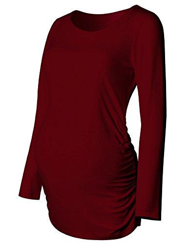 GINKANA Maternity Shirt Long Sleeve Basic Top Side Ruching Bodycon Tshirt for Mama Pregnant Women Burgundy Red