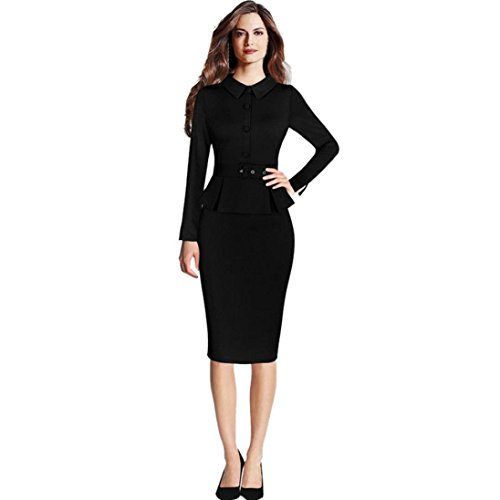 Women Elegant Vintage Peplum Lapel Wear Work Office Formal Pencil Sheath Dress (Black, S) (Pencil Fur Skirt)