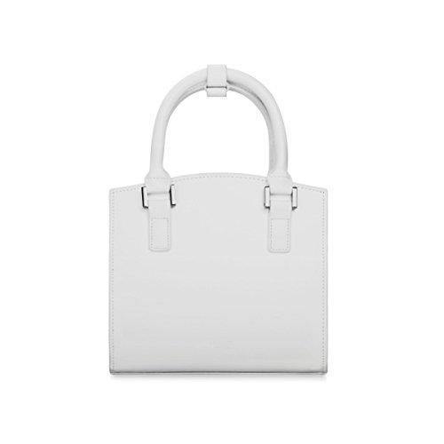 ZPFME Womens Shopper Bolsa De Cuero Cuero Moda Damas Mini Viajes Negocios Maletín Ladies Messenger White