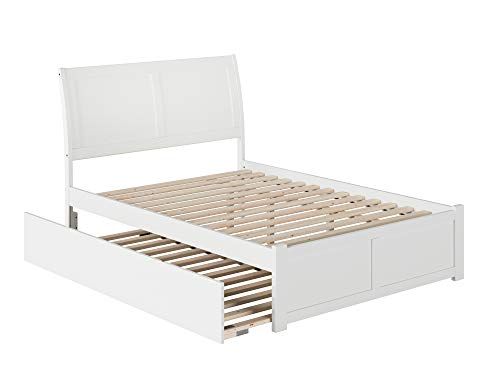 Atlantic Furniture Portland Platform Bed with Flat Panel Footboard and Twin Size Urban Trundle, Full, White