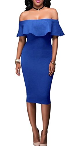 Ruffle Bodycon Cocktail Dress Midi 2 Party Off Women's Shoulder Jaycargogo wItH6H