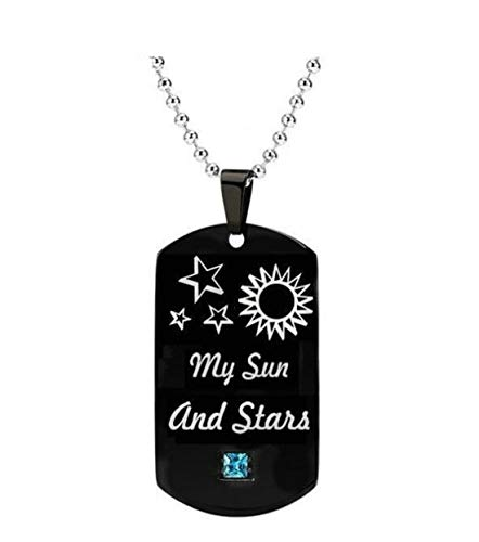 (Tmrow 1Pc Engraved Moon Of My Life Necklace Square Necklaces Sun and Star Dog Tag Pendant Inspirational Gifts,Male)