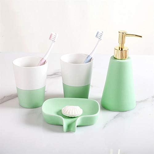 FXin バスルームキット、セラミックバスルームキット4個セット5個セット6個セット、クリエイティブノルディックスタイルバスルーム用品ブラッシングカップマグカップ、4色、2つの組み合わせ シャワー室 (Color : Green and white, Size : Four-piece)