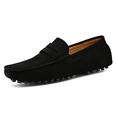 Go Tour Men's Classy Fashion Slip Penny Loafers Casual Suede Leather Moccasins Driving Shoes Flats Classic Boat Shoes Black 39