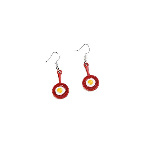 YINLIN Tiny Spatula Fried Egg Earring Funny Kitchen Tools Jewelry(red)