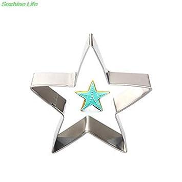 Moldes para galletas de fondant con marco de metal inoxidable y forma de estrella de cinco puntas, 1 unidad: Amazon.es: Hogar