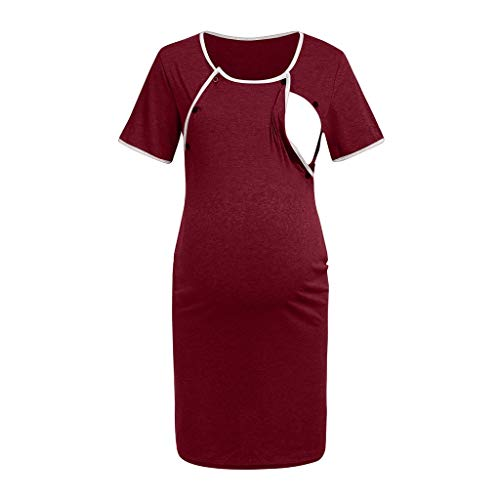 Maternity Short Sleeve Dress Nursing Baby Breastfeeding Loose Pregnancy Casual Womens Pregnant Pajamas Dress -