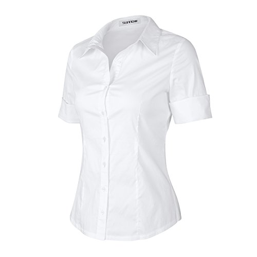 Sunnow womens tailored short sleeve basic simple button for Womens stretch button down shirt