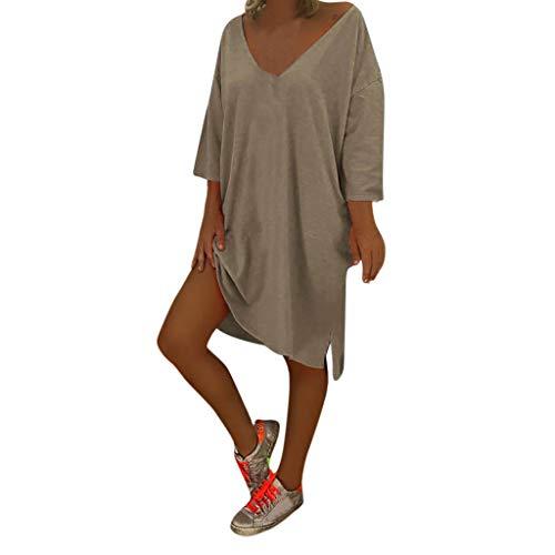 Women's V Neck Sexy Solid Hem Slit Dresses - AmyDong Ladies Boho Beach Cover Plus Size Baggy Dress