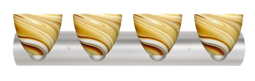 Besa Lighting 4WZ-7572HN-LED-SN 4X75W A19 Sasha II Wall Sconce with Honey Glass, Satin Nickel Finish (7572hn Sn Honey)