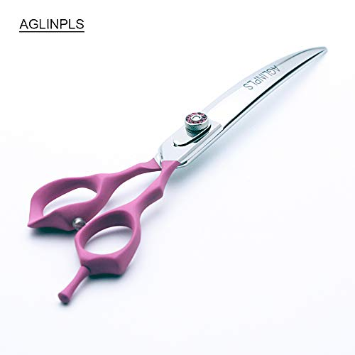 AGLINPLS Cat Grooming Scissors Dog Grooming Shears Pets Scissors Curved Thinning Shears 7inch/7.5inch/8Inch (Curved, 8inch)