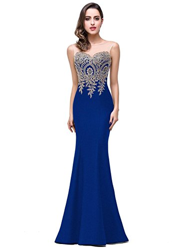 Women's Lace Applique Long Formal Mermaid Evening Prom Dresses,Royal ()