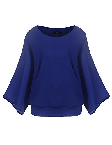 Zeagoo Women's Loose Casual Batwing Sleeve Chiffon Top T-shirt Blouse ()