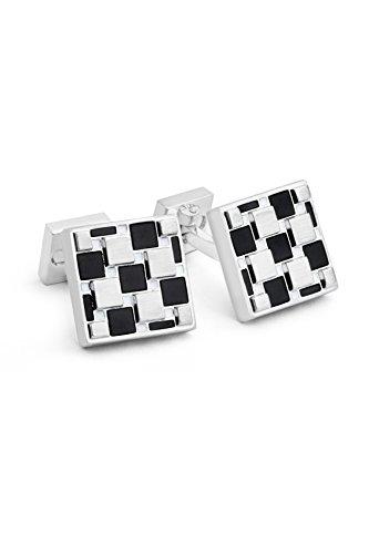 Ike Behar Men's Onyx Square Cufflink, black, One Size (Onyx Square Cufflinks)