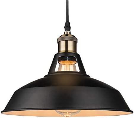 B2ocled Retro Industrial Black Pendant Lighting,Barn Farmhouse Pendant Light E26 E27 Base for Kitchen Island, Metal Aluminum Shade Ceiling Hanging Lights Black Out White Inside, 12