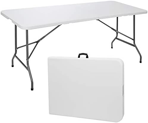 SUPER DEAL 6 Folding Picnic Table for Outdoor, Portable Fold-in-Half Plastic Dining Picnic Party Table with Carrying Handle