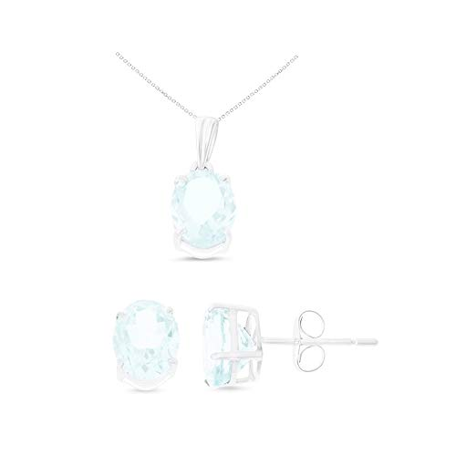 14K White Gold 6 x 8 mm. Oval Genuine Natural Aquamarine Earrings + Pendant Set With Square Rolo Chain - Genuine Square Aquamarine Pendant