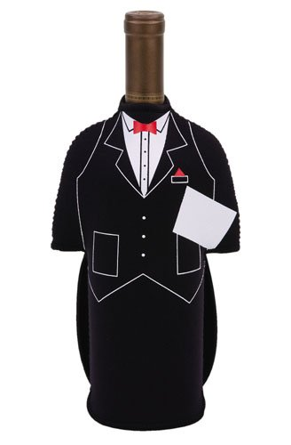 Shop123go-Cooler Custume Pary Butler Wine Bottle Jacket, Black