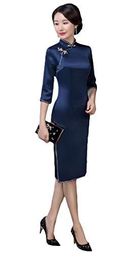 Highisa Women's Premium 3/4 Sleeve Vintage Cheong-sam Satin High-Split Dress AS4 XS