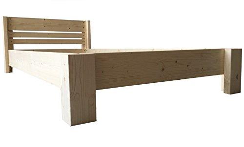Bett Holz massiv mit Kopfteil Designbett 90 100 120 140 160 180 200 x 200cm hergestellt in BRD Massivholzbett (140cm x 200cm)