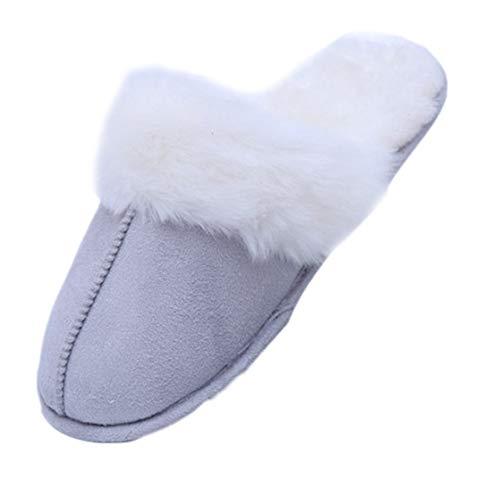Moda Sintética Forrada Felpa De Zapatillas Gris Gamuza Calientes Mujer Piel Antideslizante Claro Para rCnqx80Bwr