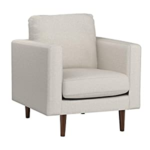 Rivet Revolve Modern Upholstered Armchair with Tapered Legs, 32.7″W, Linen