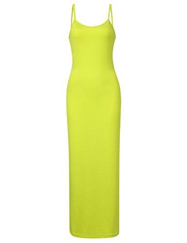 GloryStar Women Sleeveless Spaghetti Strap Cami Maxi Slip Dress (2XL, Yellow)