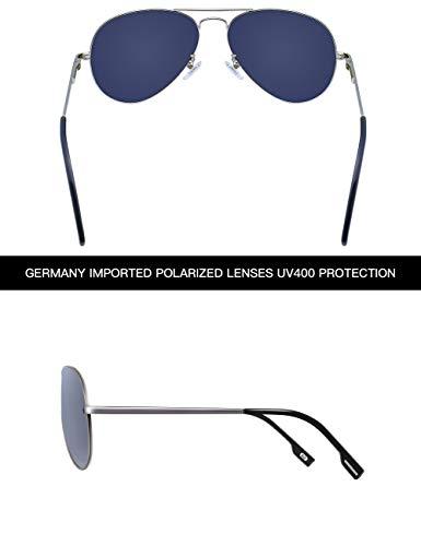 Argentée VEGOOS Protection UV Avec Homme de Miroir Lunettes Lunette Argenté 400 Aviateur Étui Cadre Lentille Polarisée Soleil HqFHaxnr