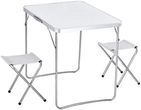 Juego de mesa y silla plegables de aleación de aluminio ultraligero de 3, mesa plegable plegable de metal antideslizante estable, mesa plegable portátil para actividades al aire libre para acampar: Amazon.es: Hogar