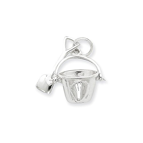 .925 Sterling Silver Shovel and Pail Charm Pendant ()