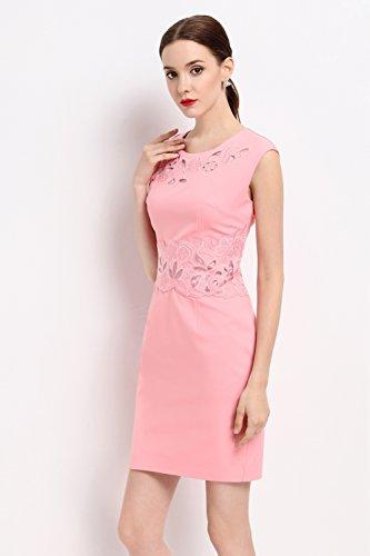 Cotylédons Femmes Robes De Soirée Formelle Sans Manches Col Rond Mince Robes De Soirée Ajustement Pink