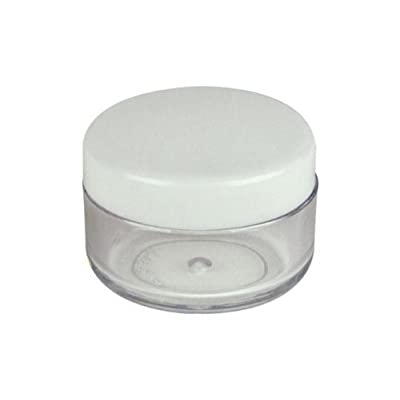 "Premium Quality (Bulk Order of 500 Pieces) New Empty White Lid Plastic Cosmetic Containers 5 Gram Size Jars Pot Eyeshadow Container Lot Size: Diameter: 1 1/4"" inch X Height: 3/4 inch. (Comes With 1 Free Fuji Nail Decal)"